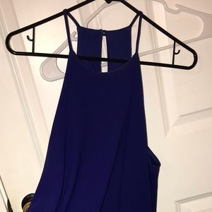 Navy Dress with Scalloped Bottom and High Neck